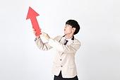 누끼, 흰색배경 (흰색), 한명, 남학생, 학생, 고등학생, 한국인, 공부, 교육 (주제), 향상, 화살표, 교복