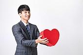 누끼, 흰색배경 (흰색), 교사, 한국인, 남성 (성별), 사랑 (컨셉), 하트, 낙천적 (컨셉)