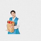 그래픽이미지, 파워포인트 (이미지), PNG, 누끼, 한국명절 (한국문화), 한복, 남성, 쇼핑 (상업활동), 선물 (인조물건), 사과 (과일), 배 (과일)