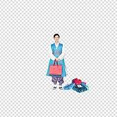 그래픽이미지, 파워포인트 (이미지), PNG, 누끼, 한국명절 (한국문화), 한복, 한국인, 남성, 쇼핑 (상업활동), 선물 (인조물건), 쇼핑백