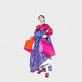 그래픽이미지, 파워포인트 (이미지), PNG, 누끼, 한국명절 (한국문화), 한복, 한국인, 쇼핑 (상업활동), 선물 (인조물건), 쇼핑백, 여성