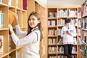 고등학생, 교복, 도서관, 책, 미소, 학생