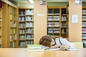 고등학생, 교복, 도서관, 책, 공부, 학생, 피로 (물체묘사), 잠