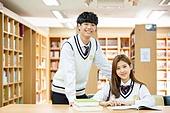 고등학생, 교복, 도서관, 책, 학생, 우등생, 공부 (움직이는활동), 미소