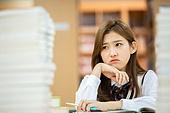 고등학생, 교복, 도서관, 책, 공부, 학생, 공부 (움직이는활동), 스트레스, 불만, 딴청
