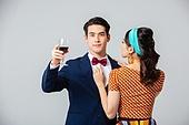 커플, 갖춰입은옷 (옷), 와인, 건배, 유혹, 자신감