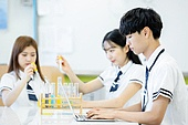 고등학생, 실험실 (연구소), 과학실험 (사건), 교복, 중고등학교 (학교건물), 남학생, 십대 (인간의나이), 학교과학실험 (과학), 노트북사용 (컴퓨터사용)
