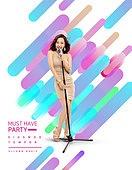 편집디자인, 레이아웃, 포스터, 패턴, 레트로스타일 (컨셉), 여성, 파티