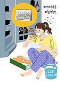 여성, 월경 (건강관리), 생리통 (질병), 건강관리 (주제), 과식 (먹기), 아이스크림, 도넛