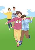 가족, 행복, 함께함 (컨셉), 부모, 자식 (가족), 즐거움, 2인3각경주 (스포츠경주), 잔디밭 (경작지), 달리는 (물리적활동)