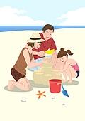 가족, 행복, 함께함 (컨셉), 부모, 자식 (가족), 즐거움, 바다, 해변, 모래성, 불가사리