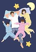 가족, 행복, 함께함 (컨셉), 부모, 자식 (가족), 즐거움, 밤 (시간대), 잠옷