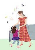 가족, 행복, 함께함 (컨셉), 부모, 자식 (가족), 즐거움, 춤, 음표, 엄마, 딸