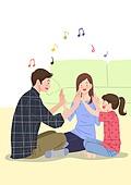 가족, 행복, 함께함 (컨셉), 부모, 자식 (가족), 즐거움, 음표, 아빠, 딸, 엄마