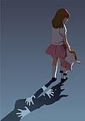 아동학대, 어두움, 슬픔, 우울, 어린이 (인간의나이), 그림자, 폭력, 인형, 소녀 (여성)