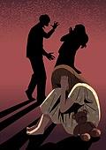 아동학대, 어두움, 슬픔, 우울, 어린이 (인간의나이), 그림자, 실루엣, 손바닥으로귀막기 (만지기), 소녀 (여성), 인형, 테디베어 (장난감), 부부싸움