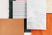 탑앵글, 스튜디오촬영, 재질 (물체묘사), 백그라운드, 오브젝트 (묘사), 패턴, 컬러, 레이아웃, 조각물 (미술품), 종이, 금속, 천 (재료), 옷감샘플 (천)
