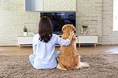 거실, 텔레비전 (전기용품), 응시 (감각사용), 반려동물 (길든동물), 뒷모습, 여성, 어깨동무, 독신여성 (독신)