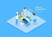 의료행위 (사건), 건강관리 (주제), 건강검진, 병원 (의료시설), 환자, 진찰 (의료행위), 아이소메트릭 (구도), 의사, 치과