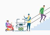 장애, 장애인의날 (홀리데이), 신체장애 (장애), 사람, 사회복지 (사회현상), 계단, 지하철, 전동휠체어, 휠체어승강기 (엘리베이터)