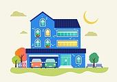 집 (주거건물), 집, 건물외관 (건설물), 나무, 주거건물 (건설물), 주차장 (인조공간), 자동차, 재활용 (환경보호), 벤치