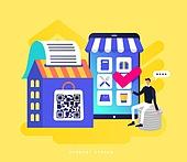 모바일결제 (금융아이템), 쇼핑 (상업활동), QR코드 (코딩), 스마트폰, 모바일쇼핑, 쇼핑백, 체크표시 (문자기호), 말풍선, 제로페이