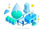 대체에너지, 연료와전력발전 (주제), 연구 (주제), 과학자 (전문직), 환경보호 (환경), 신기술, 4차산업혁명 (산업혁명), 공장, 번개