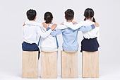 초등학생, 어린이 (인간의나이), 누끼, 한국인, 앉기, 어깨동무, 친구 (컨셉)