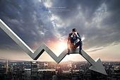 비즈니스, 하늘, 주권 (증명서), 주식시장자료 (금융기호), 그래프, 금융, 실패 (컨셉)