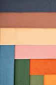 천 (재료), 재질 (물체묘사), 백그라운드, 오브젝트 (묘사), 패턴, 섬유산업 (산업), 컬러, 모던, 레이아웃, 주황, 녹색 (색상), 베이지색 (색상), 갈색, 파랑