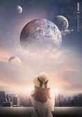 상상력 (컨셉), 환상 (컨셉), 행성, 어린이 (인간의나이), 우주 (자연현상)