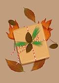 오브젝트 (묘사), 선물 (인조물건), 축하 (컨셉), 선물상자, 포장, 가을, 단풍잎, 잎, 탑앵글 (뷰포인트)