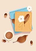 오브젝트 (묘사), 선물 (인조물건), 축하 (컨셉), 선물상자, 포장, 가을, 단풍잎, 잎, 목화솜, 커피잔, 도토리, 탑앵글 (뷰포인트)
