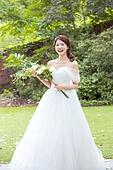 여성, 정원, 결혼, 신부 (결혼식역할), 웨딩드레스, 비혼식