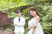 정원, 결혼, 신랑, 신부 (결혼식역할), 웨딩드레스, 미소