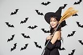 여성, 할로윈 (홀리데이), 마녀, 코스튬, 박쥐, 패턴, 마법사 (가상존재), 빗자루, 미소