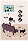 배달, 음식, 모바일앱 (인터넷), 어플리케이션 (컴퓨터소프트웨어), 혼밥, 혼밥 (컨셉), 거실, 고양이 (고양잇과)