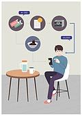 배달, 음식, 모바일앱 (인터넷), 어플리케이션 (컴퓨터소프트웨어), 혼밥, 혼밥 (컨셉), 쿠폰, 자장면 (면), 테이블