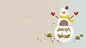 미니어쳐, 함께함, 여러명[10이상] (사람들), 라이프스타일, 겨울, 백그라운드, 눈사람