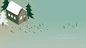 미니어쳐, 함께함, 여러명[10이상] (사람들), 라이프스타일, 겨울, 백그라운드, 교외별장 (집)