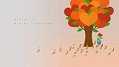 미니어쳐, 함께함, 여러명[10이상] (사람들), 라이프스타일, 겨울, 백그라운드, 나무, 하트, 사랑 (컨셉)