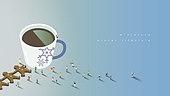 미니어쳐, 함께함, 여러명[10이상] (사람들), 라이프스타일, 겨울, 백그라운드, 커피 (뜨거운음료)