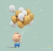 2019, 새해 (홀리데이), 복 (한단어), 캐릭터, 돼지 (발굽포유류), 십이지신 (컨셉심볼), 돼지띠해 (십이지신)