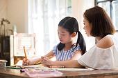 엄마, 딸, 숙제 (공부), 갈등 (컨셉)