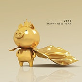 2019년, 새해 (홀리데이), 돼지 (발굽포유류), 캐릭터, 돼지띠해 (십이지신), 돼지띠해