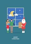 상업이벤트 (사건), 연례행사 (사건), 크리스마스, 겨울, 밤 (시간대), 창문, 커플, 선물 (인조물건), 산타클로스 (가상존재)