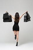 여성, 검정색 (색상), 쇼핑 (상업활동), 블랙프라이데이, 쇼핑백, 뒷모습, 즐거움