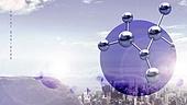 백그라운드, 도시풍경, 키포인트 (컨셉), 기하학모양 (도형), 비즈니스, 원형 (이차원모양)