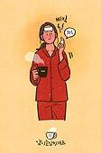 라이프스타일, 감기, 질병 (건강이상), 건강관리 (주제), 고통 (컨셉), 겨울, 여성 (성별), 온도계 (측정도구), 열 (질병), 잠옷