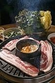 돼지고기,삼겹살,구이,된장국